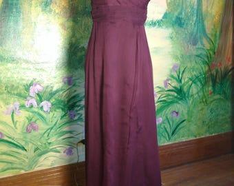 Burgundy, Silk, Maxi, Dress