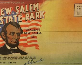 Vintage Postcard Book: Souvenir Folder of New Salem State Park, Illinois (1940)