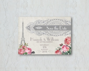 Paris Wedding Save the Date Card or Magnet