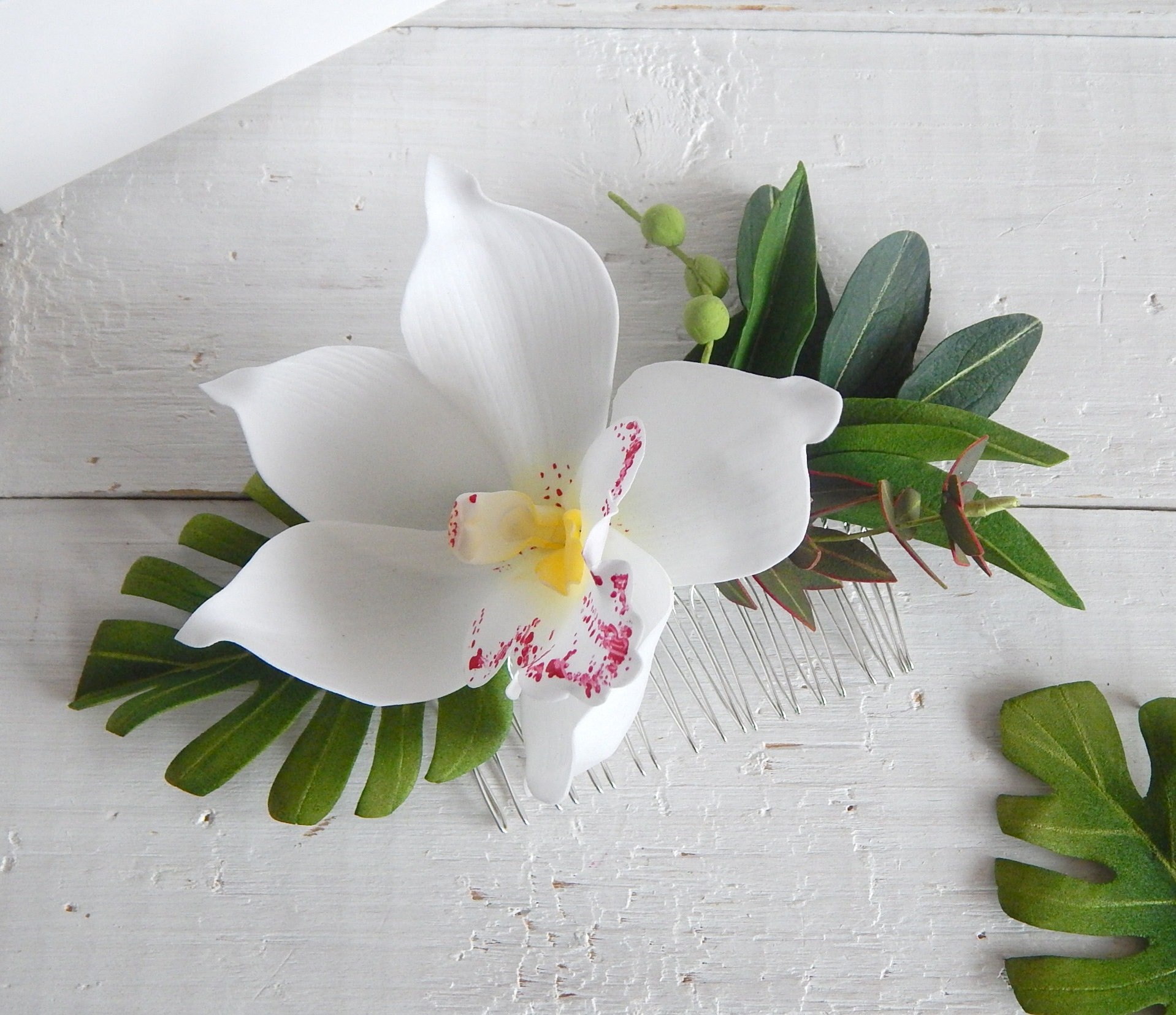 Hawaii Hair White Orchid Flower Tropical Headpiece Orchid Hair