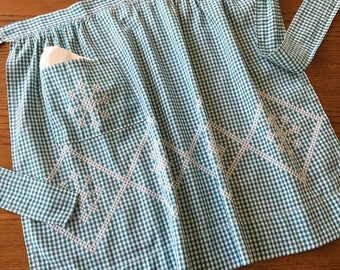 Blue/Teal Gingham Half Apron Large White Cross Stitched Diamonds with Snowflakes Inside  20 inch Waist, 23 inch Ties Apron Strings