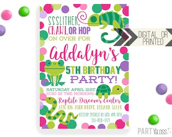 Girly Reptile Invitation | Digital or Printed | Reptile Invite| Girl Turtle Invite | Girl Lizard Invite | Girl Snake Invite | Frog Invite
