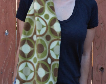 Unisex scarf,  fleece no sew scarf, neck warmer in green and brown