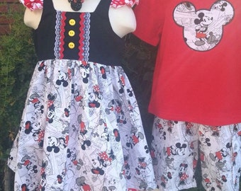 Custom Boutique Vintage Minnie Top and Ruffle Shorts