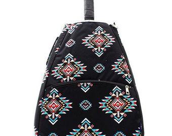 Ladies Monogrammed Tennis Bag Black Southwest Print Tennis Racquet Backpack for Girls