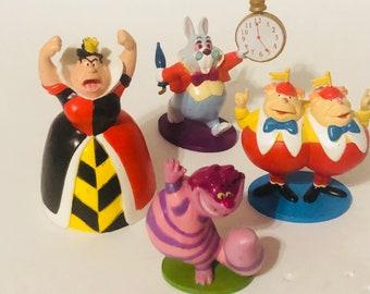 Alice in wonderland PVC figures set of 4 from the Disney movie Cheshire Cat, queen of hearts, tweedle dee