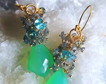 Green Chalcedony with Blue Flash Labradorite and Neon Apatite Gemstone Cluster On Gold Vermeil Earwires