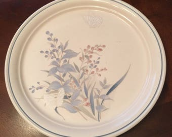 Vintage Noritake Keltcraft Kilkee Salad Plates - Set of 6 - Made in 1981 - 1995 - Blue and Pink Plants Butterfly