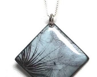 Blue Dandelion Pendant, Dandelion Enamel Necklace