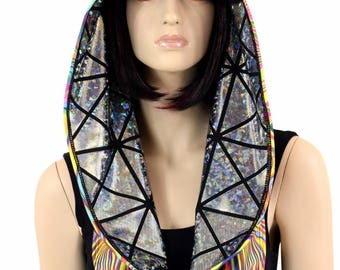 Reversible Festival Hood in Silver/Black Cracked Tiles & Tropical Swirl Print *NEW STYLE*  Festival Rave Reversible Infinity Hood - 152099