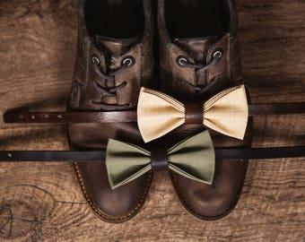 Trendy canvas & leather bow tie, groomsmen bowtie, wedding bowtie