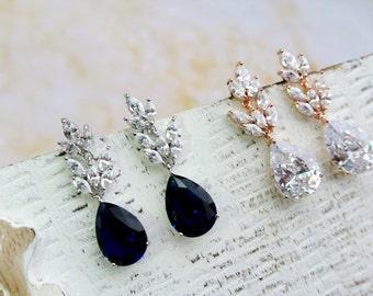Art Deco Earrings, Dark Sapphire Blue  Bridal Earrings, Wedding Earrings, Bridal Jewelry , Crystal Teardrop Earrings ,Wedding Jewellery