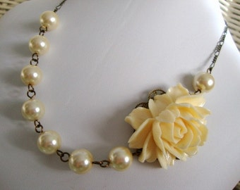 Going to the Chapel Necklace FREE Earrings - Rose and Pearls Bridesmaid Wedding Jewelry