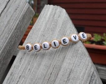 BELIEVE Knotted Cord Bracelet