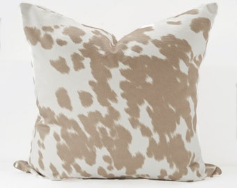 Pony print cream pillow cover - Tan Off White pillow - Animal print pillow - Horse print pillow - Faux hide Fur pillow - Beige pony pillow
