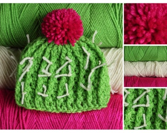 Crochet Cactus Hat- Newborn, Infant, Toddler, Youth, and Adult Sizes