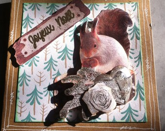 Christmas, 3D, nature, squirrel, basic craft card