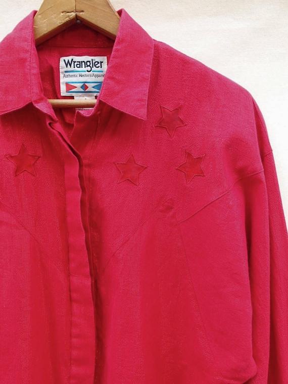 Vintage western Wrangler shirt; red retro rodeo shirt; disco western shirt; long sleeve; red metallic shirt; shimmery 70s shirt YU1Mshsobp
