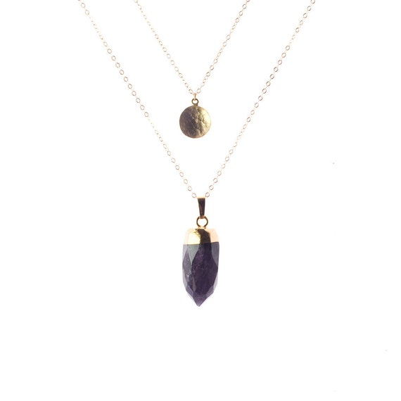 Gold Amethyst Spike Layer Necklace