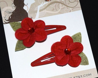 Tropical Red Felt Flowers Snap Clips - Buy 3 Items, Get 1 Free