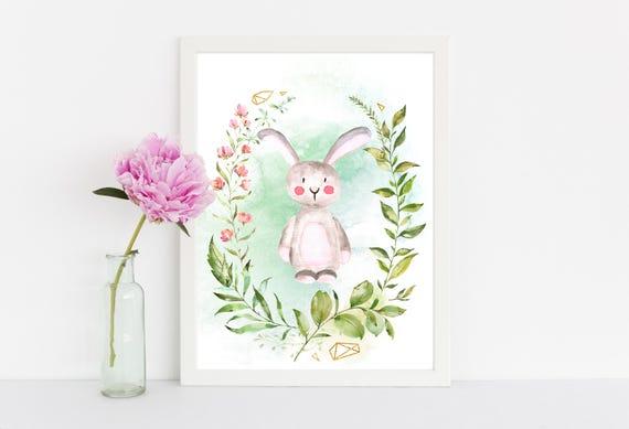 Watercolor Bunny wall art quote kids room nursery wall art