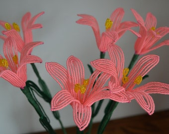 6 Handmade french beaded flowers lilies in neon pink lily flower