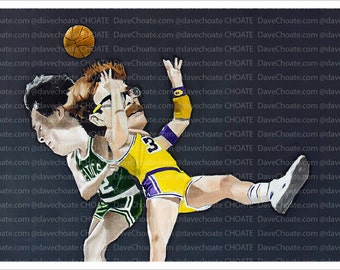 NBA Finals 1984. Boston Celtics vs Los Angeles Lakers. Kevin McHale clotheslines Kurt Rambis. Art Print