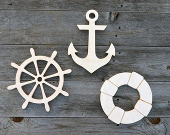 3 pieces- NAUTICAL Wood Cut-outs, Wood cutouts, Wood cut-outs- 3 pieces, Wooden Anchor, Wooden Ship Wheel, Wooden Life Preserver Ring