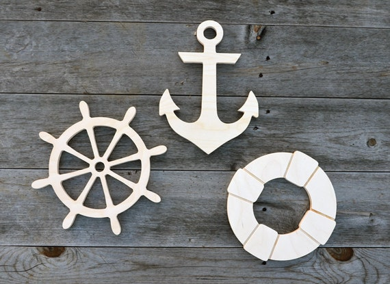 3 Pieces Nautical Wood Cut Outs Wood Cutouts Wood Cut Outs