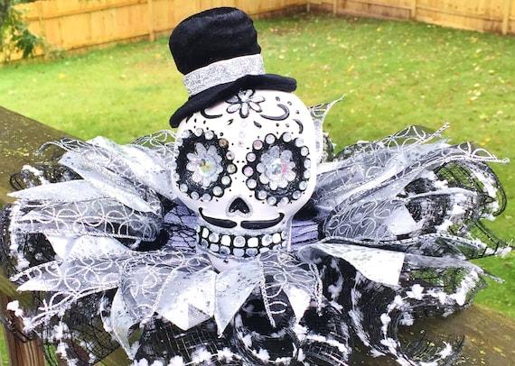 Black White Silver Skull Dia de los Muertos Sugar Skull - Day of the Dead Halloween Centerpiece