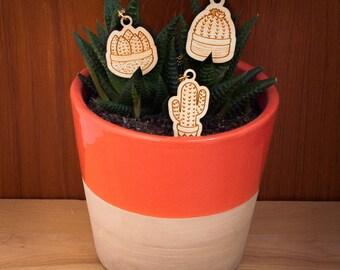 CACTUS FRIEND TRIO: Set of 3 Cactus Necklaces - wooden plant pendants