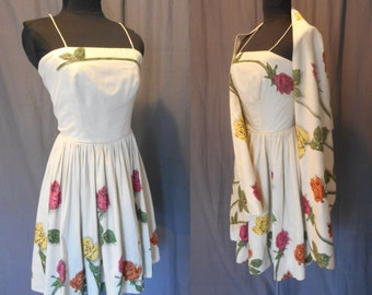 Vintage 1950s Illustrated Roses Print Sun Dress w/ Shawl / Best and Co Young Cosmopolitan Reid & Reid Sportswear / 50s Rose Print / Small