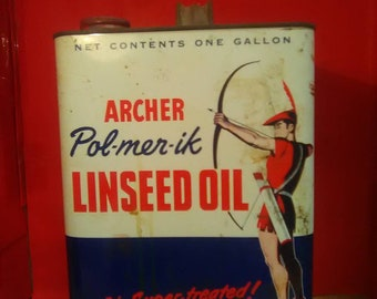 Vintage Tin Litho Archer Linseed Oil Can 1 Gallon 1/2 Full