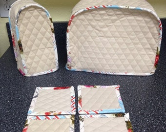 Appliance Covers Set Khaki 2 Slice Toaster Cover with a Can Opener Cover Quilted Fabric Kitchen Appliance Covers Sewn and Ready to Ship