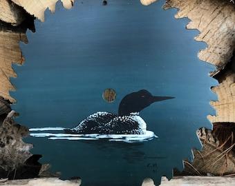 "Swimming Loon 10"" Sawblade Painting"