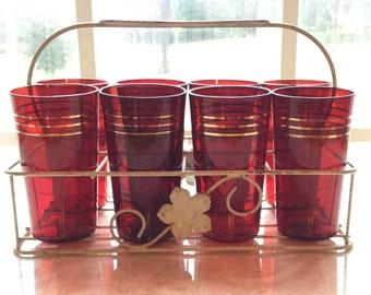 Paden City Glass: Beautiful Set of 8 Crimson, 9 fluid ounce Tumblers, Vintage Early 1930's