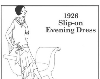 PP503 - Past Patterns #503, 1926 Slip On Evening Dress Sewing Pattern