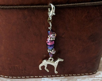 Greyhound purple/pink planner charm