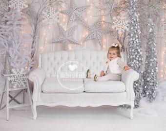 Instant DownloadBaby Toddler Child Photography Prop Digital Backdrop for Photographers - CHRISTMAS WINTER WONDERLAND Sofa  Digital Backdrop