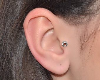 2mm Garnet Tragus Earring Stud Silver 16g / Cartilage Earring, Nose Ring Stud / Helix Stud, Nose Stud, Tragus Stud, Helix Piercing