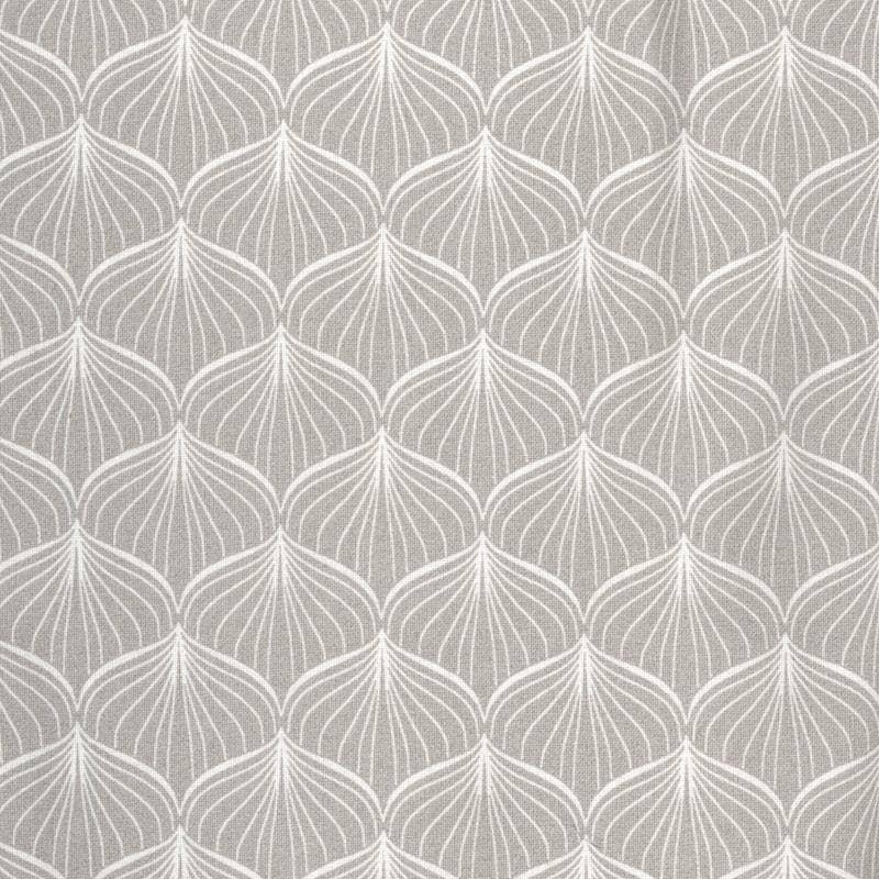 Toile cirée en coton enduit gris ciment imprimé motif japonais