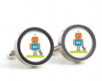 Robot and Dog Cufflinks - Gift cufflinks, Men's Cufflinks,  Husband, Wedding gift, Novelty cufflinks for him, robot
