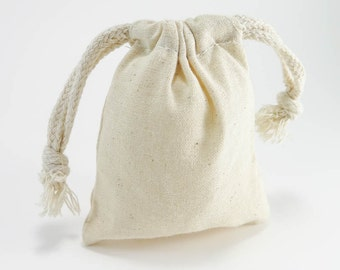 10 SMALL Cotton Muslin Bags Pouches (3 by 4 inch) Gift Bags | Unbleached Muslin Favor Bags, Cotton pouches