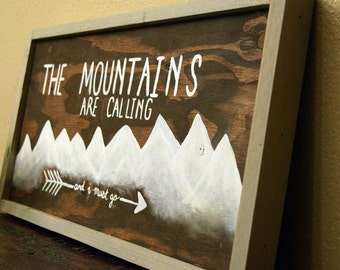 Mountain wood art- Mountains are calling- Reclaimed Wood Art- Recycled Wood art- Rustic wood art- PNW