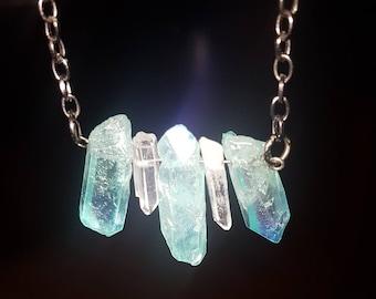 Green Aqua aura quartz crystal necklace