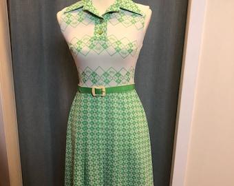 60s/70s Bicycle Print Dress