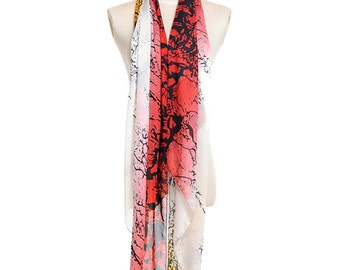 Womens Scarf, Red Scarf, Yellow Scarf,  Floral Print Scarf, Fashion Scarf, Chiffon Scarf, Voile Scarf, Cotton Scarf, Womans Scarf