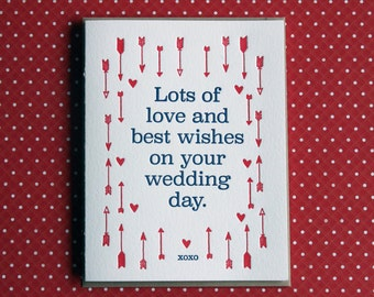 Letterpress Card - love & best wishes wedding day