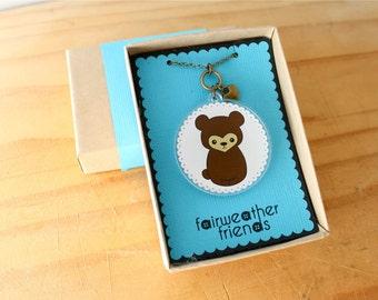 Bear Necklace. Animal Jewelry, Brown Bear Charm, Laser Cut Acrylic, Teddy Bear Pendant, Grizzly Bear Necklace, Animal Lovers, Bearcub Charm
