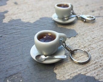 Coffee Break: Individual Coffee Cup with Saucer and Tiny Spoon Stitch Marker for Knitters & Crocheters